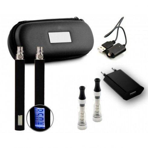 eGo Twin Kit (LCD) - CE5+ Wickless Starter E-Cigarette / E-Shisha Pen Kit (650mAh - 1300mAh) - Free Leather Zipper Case Included