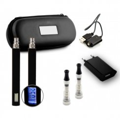 Twin Kit (LCD) - CE5+ Wickless Starter E-Cigarette / E-Shisha Pen Kit (650mAh - 1300mAh) - Free Leather Zipper Case Included